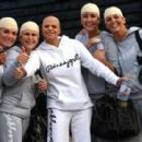 Jade Goody sharing a laugh with brides maids