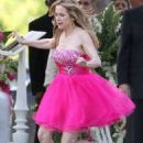 Kelly Preston wears bridesmaid dress to a funeral in new pilot