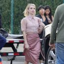 Emma Roberts – Filming scenes in a vintage convertible in Beverly Hills