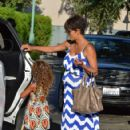 Halle Berry flaunts her growing baby bump while spending time with her adorable daughter Nahla in Beverly Hills
