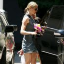 Gwyneth Paltrow In Shorts Picks Up Moses At School In Santa Monica, April 21 2009