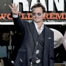 "Johnny Depp arrive at the premiere of Walt Disney Pictures' ""The Lone Ranger"" at Disney California Adventure Park on June 22, 2013 in Anaheim"
