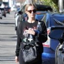 Ashlee Simpson rocks an all black ensemble while leaving the gym in Studio City, California on January 13, 2017