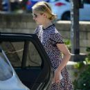 Dianna Agron in a print dress out in Los Angeles - 454 x 823