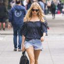 Sienna Miller in Denim Shorts out in New York - 454 x 681