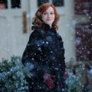 Christina Hendricks on the set of