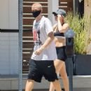 Miley Cyrus in Shorts and Sports Bra – Hiking with boyfriend Cody Simpson in Los Angeles