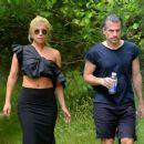 Lady Gaga in Long Skirt on a Hike in Montauk - 454 x 384