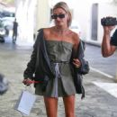 Hailey Baldwin in Mini Dress at E Baldi Restaurant in Los Angeles