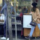 Camilla Morrone and Leonardo DiCaprio at a pizza restaurant in Los Feliz