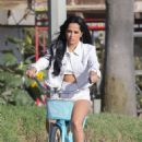 Becky G – Filming a bike ride scene for an upcoming music video in Venice Beach