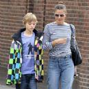 Helena Christensen Picks Up Her Son From School in NYC