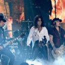 Actor/musician Johnny Depp, singer Alice Cooper and musician Joe Perry of Hollywood Vampires perform onstage during The 58th GRAMMY Awards at Staples Center on February 15, 2016 in Los Angeles, California. - 454 x 302