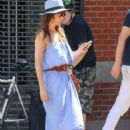 Helena Christensen in Blue Dress out in New York