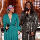 Alicia Keys and Michelle Obama At The 61st Annual Grammy Awards - Show - 454 x 590