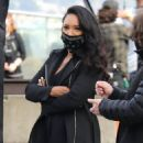 Candice Patton – Filming 'The Flash' season 7 with co-star Victoria Park in Vancouver - 454 x 681