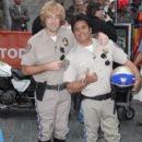 "Erik Estrada pose as ""Chips"" characters as part of Halloween festivities on the ""Today"" show in new York on Oct. 31, 2013"