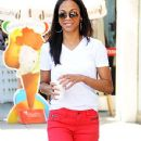 Zoe Saldana heated things up in bright red denim