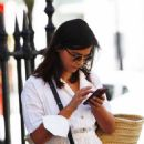 Jenna Coleman in White Dress – Out in London