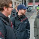 Director John Erick Dowdle and Drew Dowdle with M. Night Shyamalan on the set of Devil.