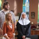 Paul 'The Big Show' Wight as Walter Krunk, Melora Hardin as Mary O'Connor and Wendie Malick as Sister Francesca in KNUCKLEHEAD. Photo Credit: Van Redin/WWE Studios - 454 x 302