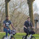 Shailene Woodley and Ben Volavola bike riding in Bordeaux