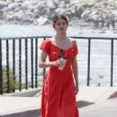 Selena Gomez in Red Long Dress out for a walk in Malibu - 454 x 681