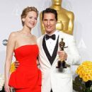 Jennifer Lawrence and Matthew McConaughey - The 86th Annual Academy Awards - Press Room - 408 x 612