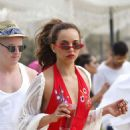 Jade Thirlwall in Red Swimsuit at the beach in Mykonos