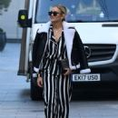 Ashley Roberts – Pictured at Heart radio in striped trousers in London