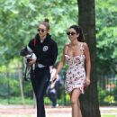 Gigi Hadid with her dog in Tompkins Square Park in NY