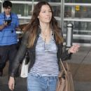 Jessica Biel is seen arriving on a flight at the Washington Reagan National Airport in Washington DC on August 31, 2016
