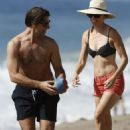 Hilary Swank Wearing A Bikini Top At A Beach In Malibu