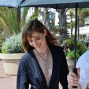 Louise Bourgoin in Blue Dress on the Croisette in Cannes