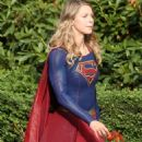 """Melissa Benoist on the Set of """"Supergirl"""" in Canada, July 2017"""