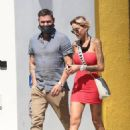 Tina Louise in Red Mini Dress and Brian Austin Green – Having drinks at Sugar Taco in Los Angeles