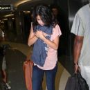 "Selena Gomez takes a flight out of Tampa International Airport after filming scenes for her upcoming film ""Spring Breakers"" in Florida"