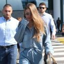 Gigi Hadid – Arriving in Denim at Milan Airport