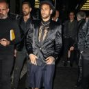 Neymar smoulders in a sleek black blazer, matching shorts and a gold-embellished shirt as he launches new Diesel fragrance - 454 x 681