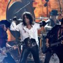 Actor/musician Johnny Depp, singer Alice Cooper and musician Joe Perry of Hollywood Vampires perform onstage during The 58th GRAMMY Awards at Staples Center on February 15, 2016 in Los Angeles, California.