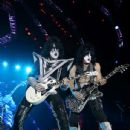 Tommy Thayer and Paul Stanley of KISS, perform during their opening show for the Australian leg of their 40th anniversary world tour at Perth Arena on October 3, 2015 in Perth, Australia.