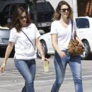Mandy Moore and Minka Kelly out for some lemonade while wearing matching outfits in Los Angeles, California on September 4, 2014 - 452 x 594