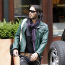 Russell Brand looking fresh-faced after a session at his New York gym