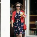 Pippa Middleton is seen grabbing some breakfast while colour coordinating her outfit in Chelsea