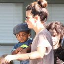Sandra Bullock and her adorable son Louis visit a friend's house on Saturday (October 1) in Los Feliz, Calif
