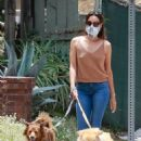 Aubrey Plaza – Takes her dogs for a walk in Los Feliz