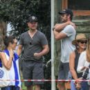 Elsa Pataky, Chris Hemsworth and Matt Damon at a local park in Byron Bay - 454 x 571