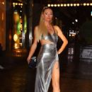 Paris Hilton in Metallic Dress – Arrives at KKW X Winnie Event at L'avenue in NY