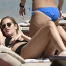 Ana Beatriz Barros – Wearing black bikini at the beach on a holiday in Mykonos