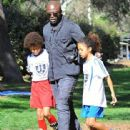 Seal is seen watching his kids Leni, Henry and Johan play soccer in Brentwood, California on January 31, 2015 - 442 x 600